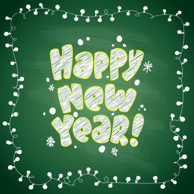 Svart tavla för gräsplan för lyckligt nytt år med ramen royaltyfri illustrationer
