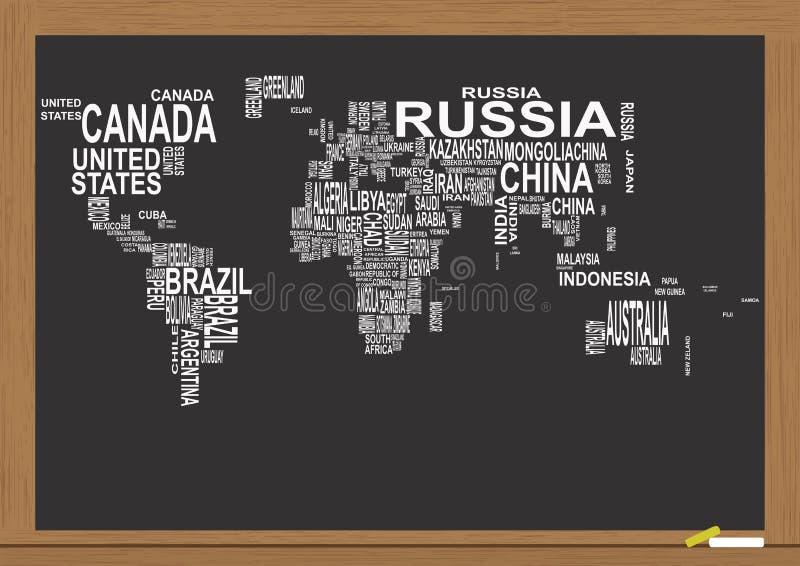 Svart tavla för världskarta vektor illustrationer
