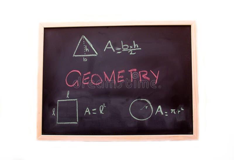Svart tavla med geometrikurs arkivfoton