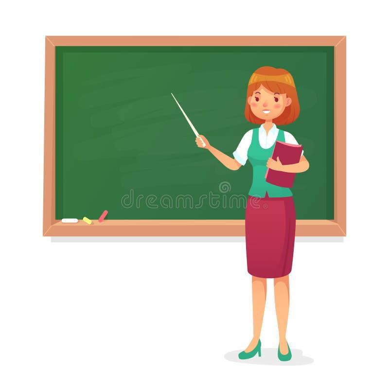 Svart tavla och lärare Den kvinnliga professorn undervisar på svart tavla Kurskvinnalärare på skolförvaltningtecknad filmvektorn royaltyfri illustrationer