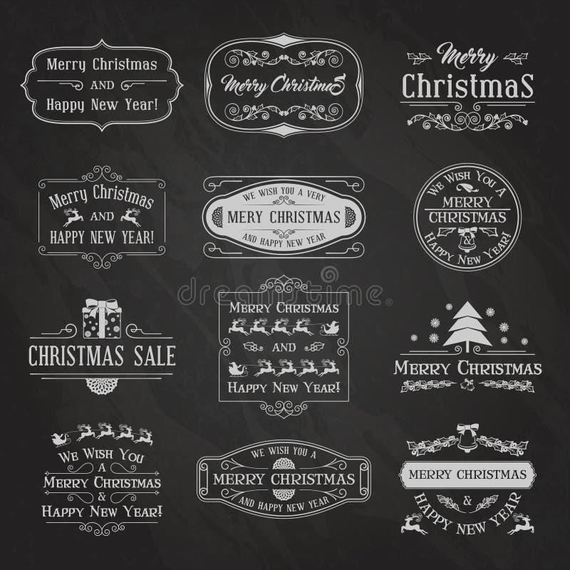 Svart tavla Set2 för jul royaltyfri illustrationer