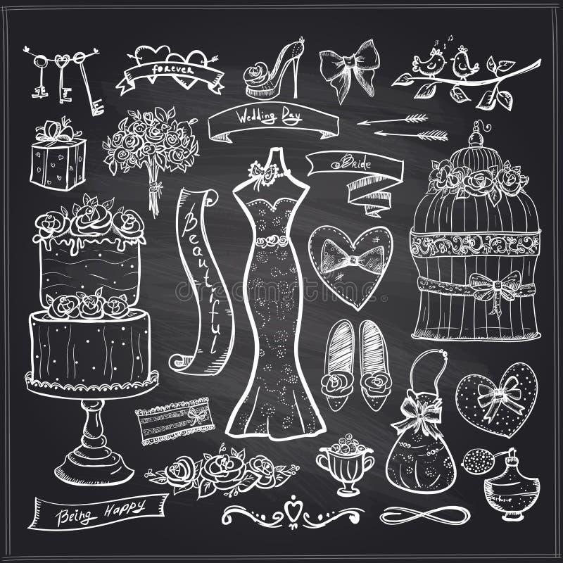 Svart tavla som gifta sig den brud- beståndsdeluppsättningen royaltyfri illustrationer