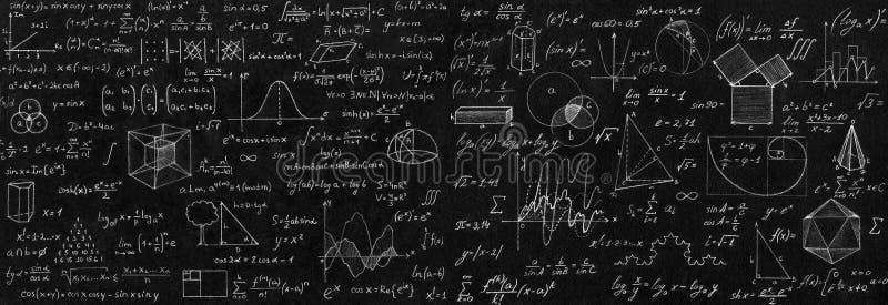 Svart tavla som inskrivas med vetenskapliga formler och beräkningar I vektor illustrationer