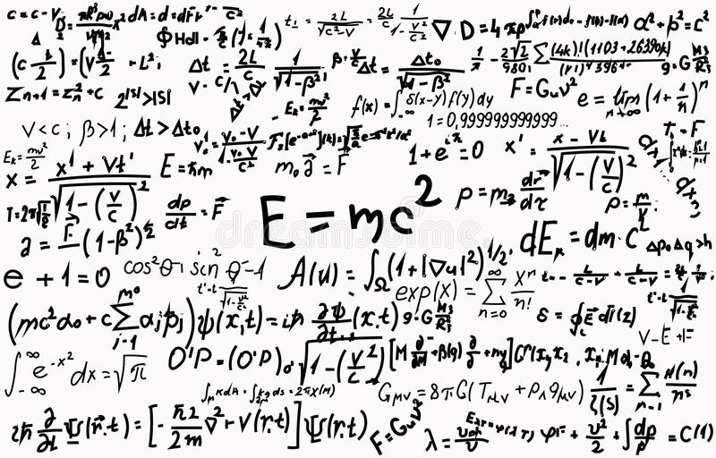 Svart tavla som inskrivas med vetenskapliga formler och beräkningar i fysik och matematik Kan illustrera vetenskapligt royaltyfri illustrationer