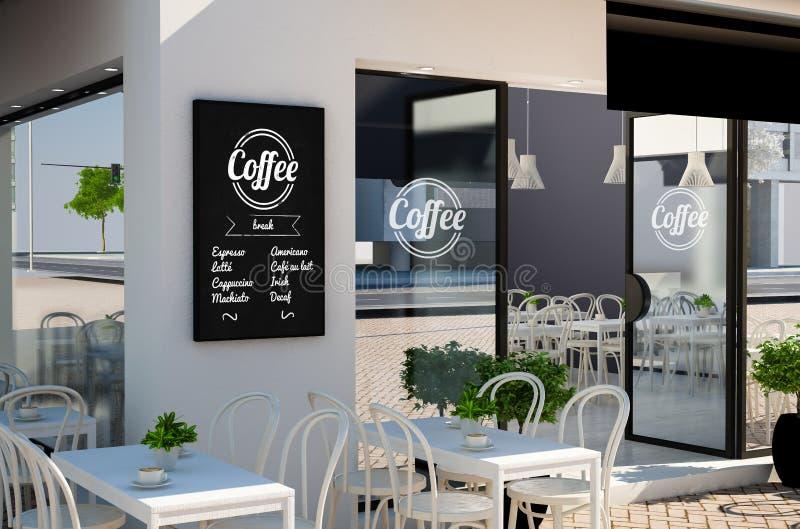svart tavlaaffischmodell på coffee shopfasad stock illustrationer
