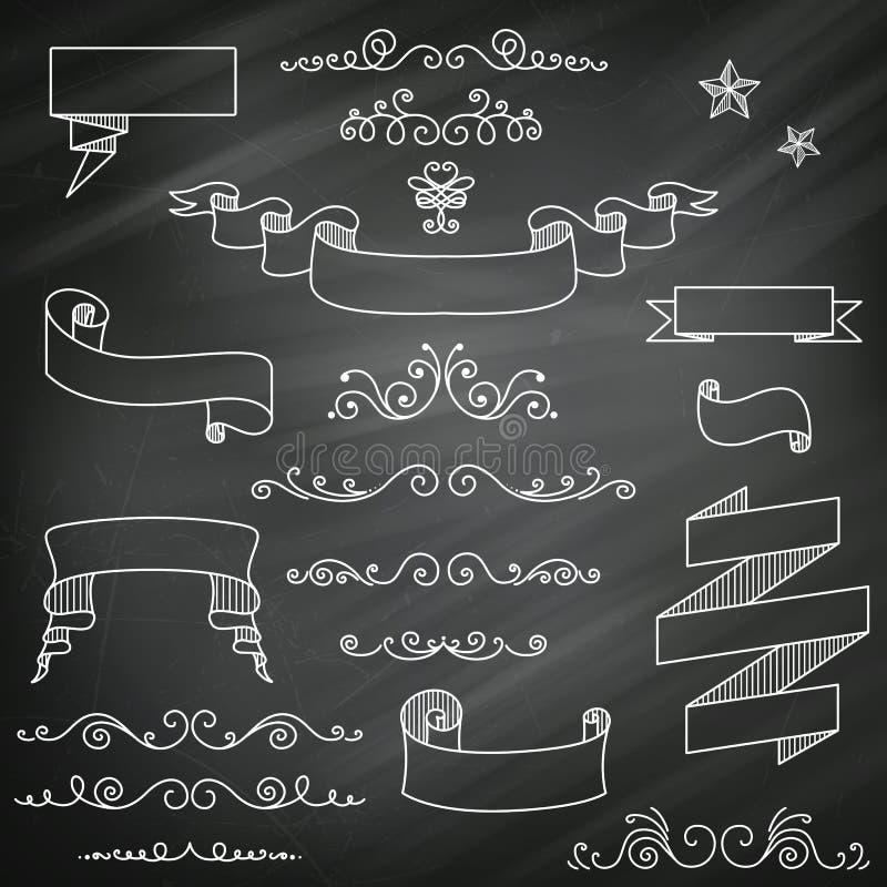 Svart tavlabeståndsdelar royaltyfri illustrationer