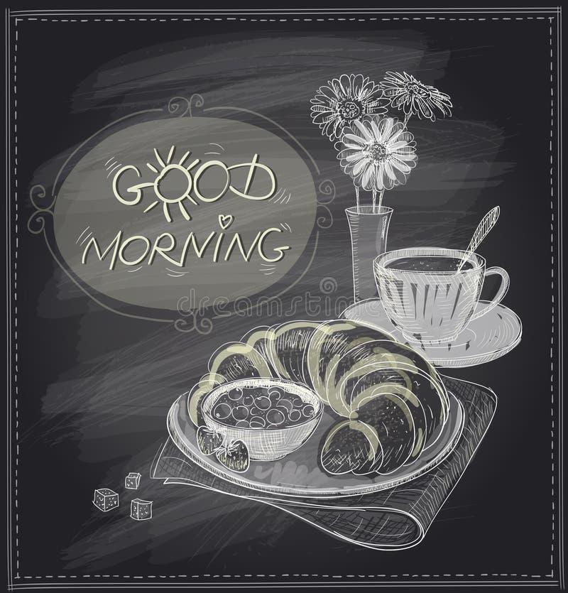 Svart tavladesign för frukost med gifflet och kaffe stock illustrationer