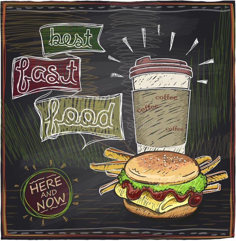 Svart tavladesign med hamburgaren och kaffe vektor illustrationer