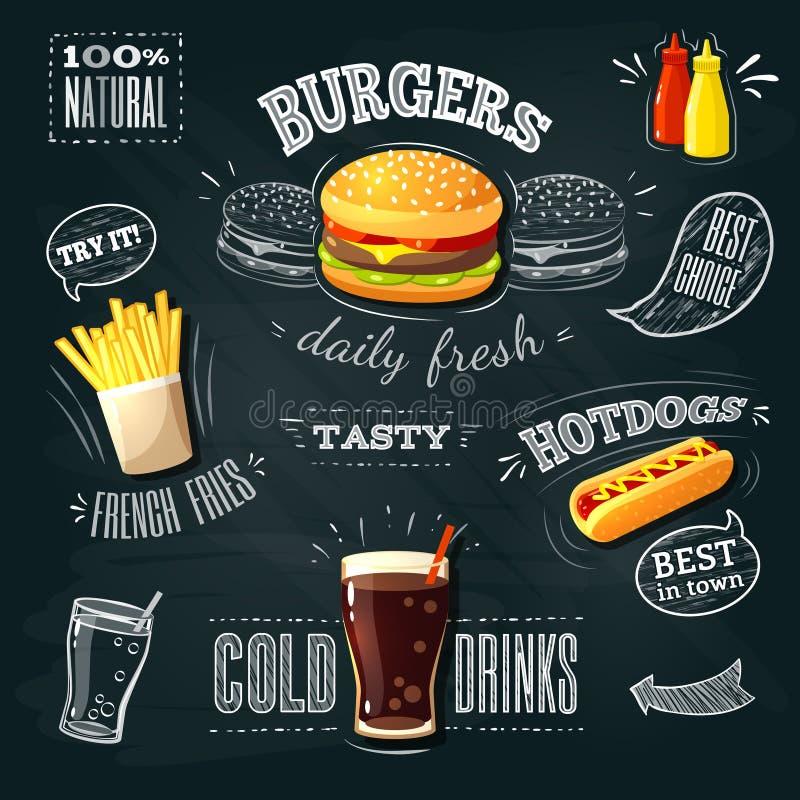 Svart tavlafastfoodannonser - hamburgare, fransmansmåfiskar och hotdog royaltyfri illustrationer