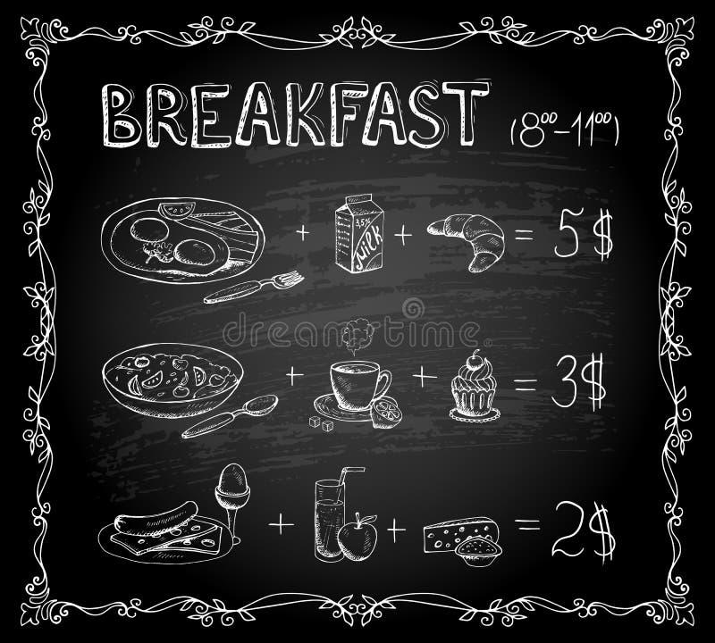 Svart tavlameny för frukost royaltyfri illustrationer