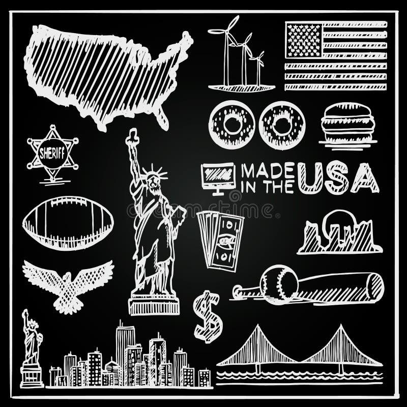 Svart tavlasamlingen av symboler Förenta staterna, Amerika skissar uppsättningen, USA undertecknar, vektorillustrationen vektor illustrationer