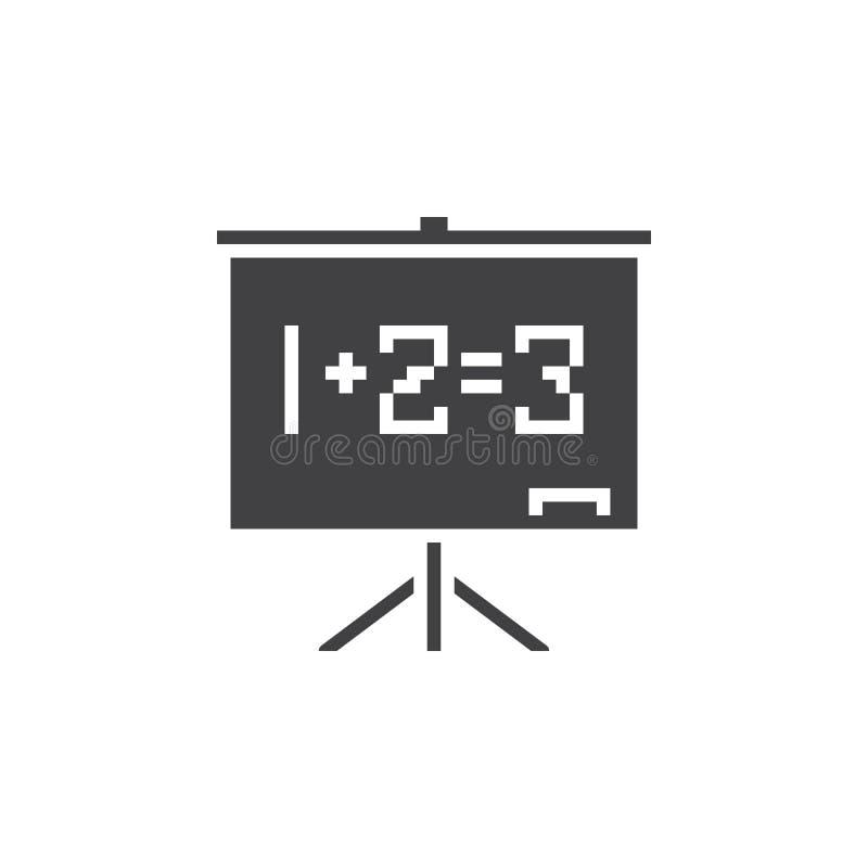 Svart tavlasymbolsvektor, fast logo för skolförvaltning, pictogram stock illustrationer