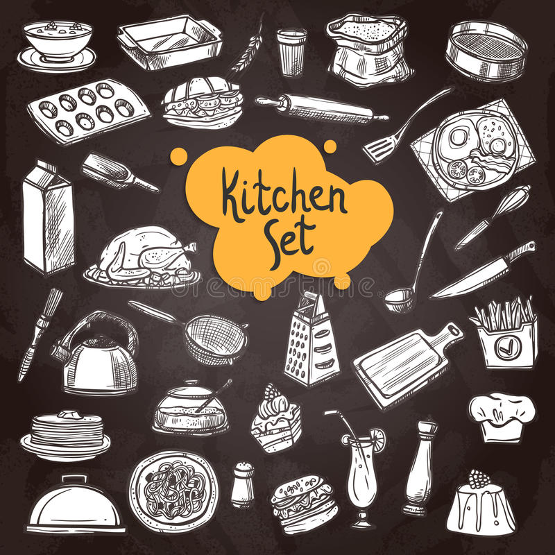 Svart tavlauppsättning för mat stock illustrationer