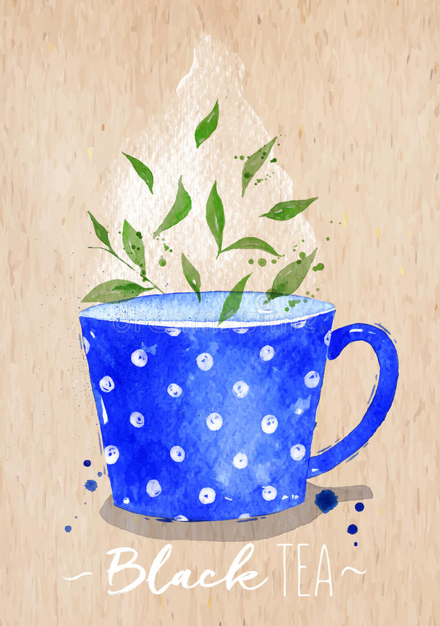 Svart te kraft för tekopp stock illustrationer