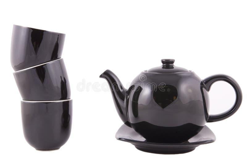 Svart teauppsättning av Kina arkivfoton
