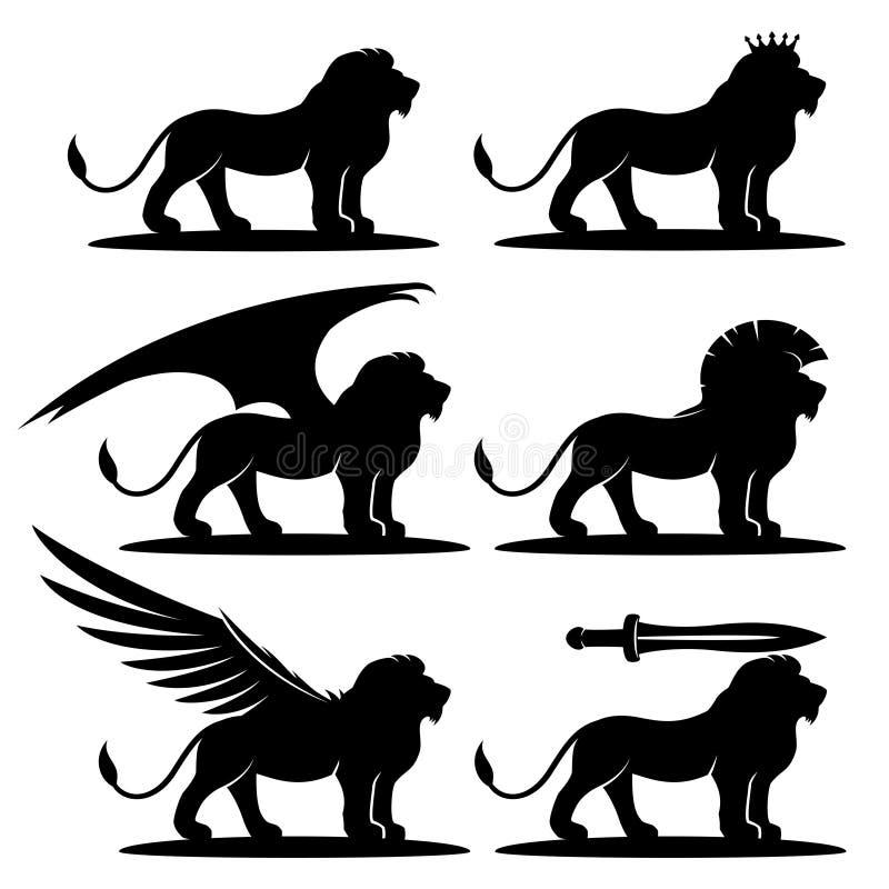 Svart tecken för lejon vektor illustrationer