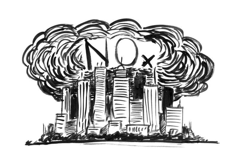 Svart teckning för färgpulverGrungehand av staden som täckas av smog- och gasformigt grundämneoxider eller NOx-luftförorening stock illustrationer