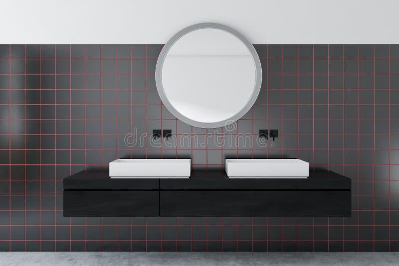 Svart tegelplattabadrum, dubbel vask vektor illustrationer
