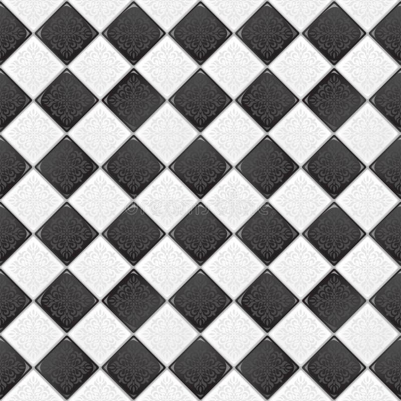 svart tegelplattawhite stock illustrationer