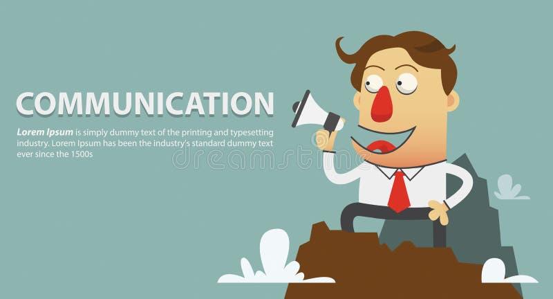 svart telefon för kommunikationsbegreppsmottagare megafon för håll för affärsman i hans hand huvudet för uppnosiga gulliga hundar royaltyfri illustrationer
