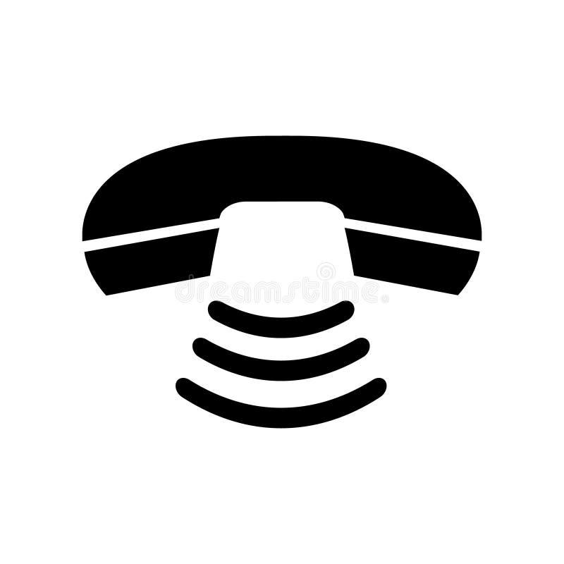 Svart telefonlur f?r tappning och teckensignal Telefonkommunikation vektor Kontakta appellmitten, det isolerade supporttj?nstteck royaltyfri illustrationer