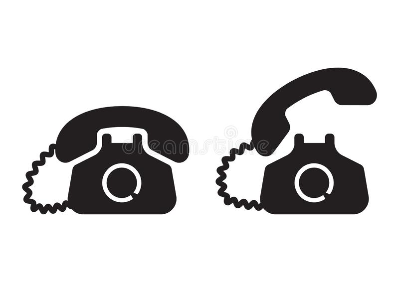 Svart telefonsymbol också vektor för coreldrawillustration stock illustrationer