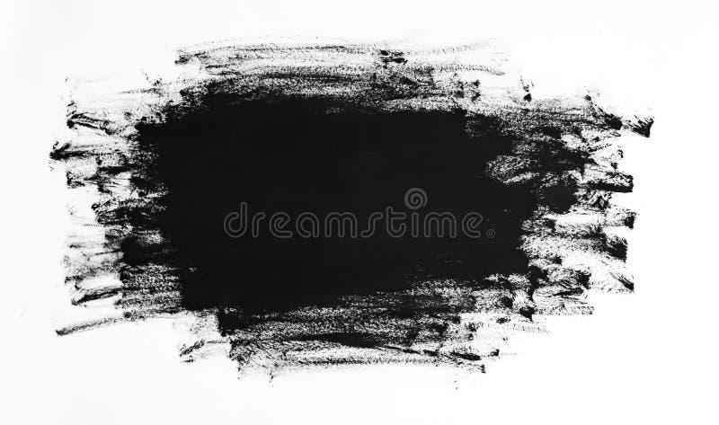 Svart textur för slaglängder för målarfärgborste som isoleras på vit bakgrund stock illustrationer