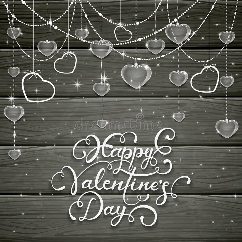 Svart träbakgrund med valentinhjärtor och pärlor vektor illustrationer