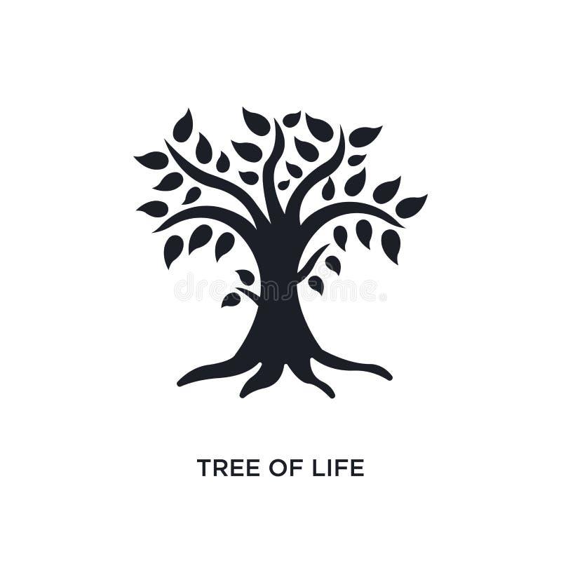 svart träd av den isolerade vektorsymbolen för liv enkel best?ndsdelillustration fr?n symboler f?r religionbegreppsvektor rediger stock illustrationer