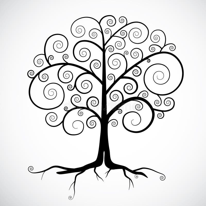 Svart trädillustration royaltyfri illustrationer