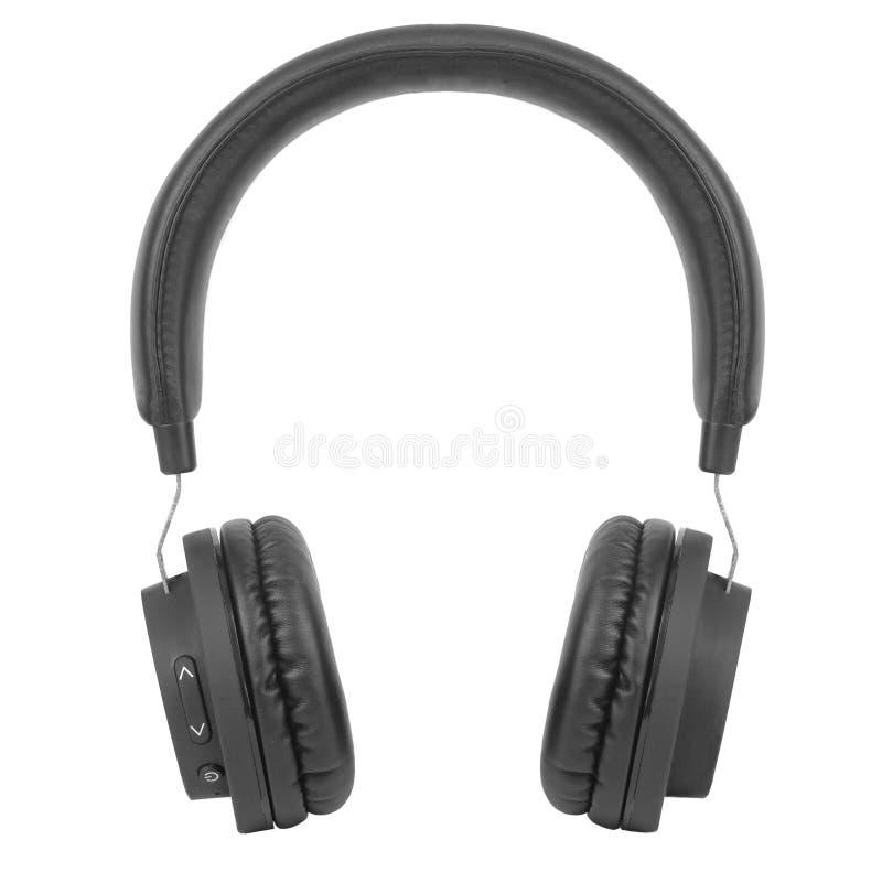 Svart trådlösa moderna hörlurar med avlyssningar isolerade på vit bakgrund Musikbegrepp Platt, översida royaltyfri foto