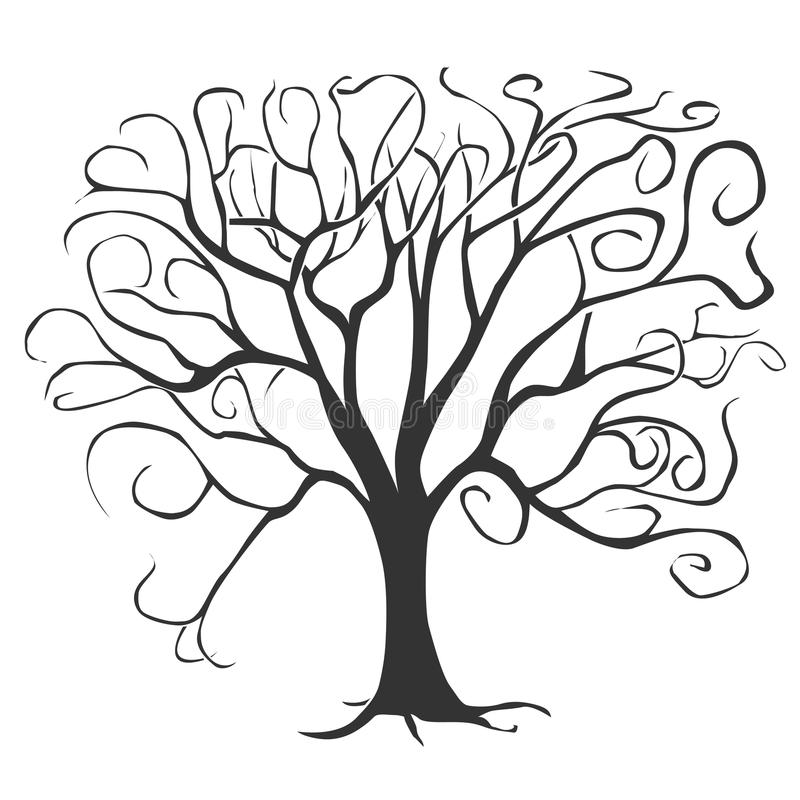 svart tree stock illustrationer