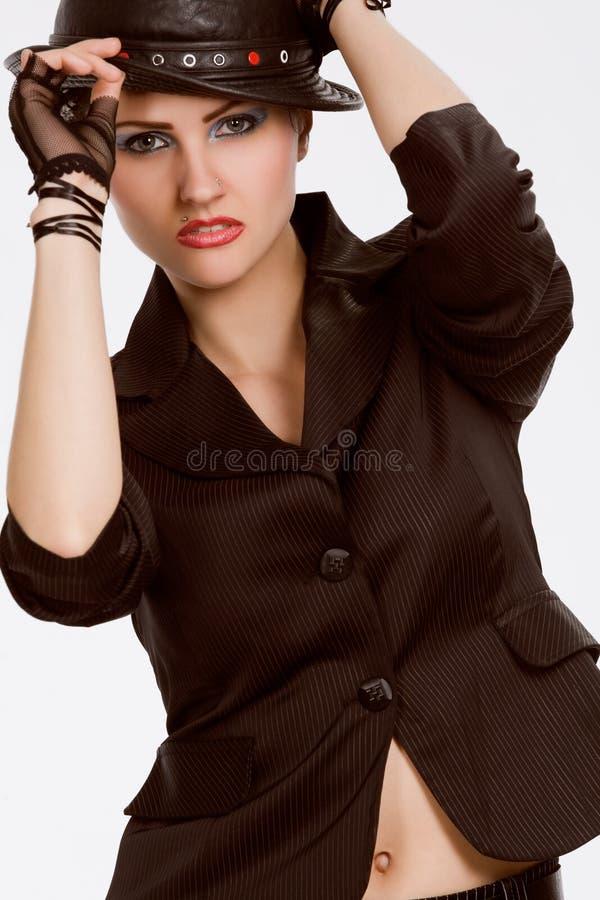 svart trendigt hattmodellbarn royaltyfria bilder