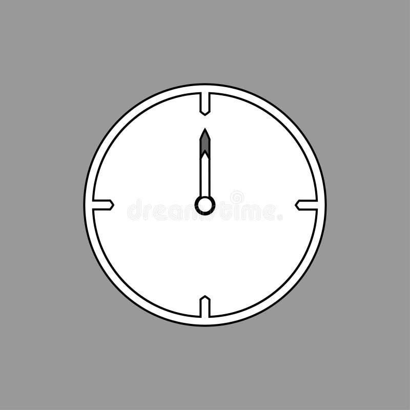 Svart tunn linje klockasymbol på grå bakgrund 12 klockan - vektorillustration stock illustrationer