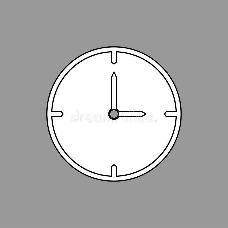 Svart tunn linje klockasymbol på grå bakgrund 3 klockan - vektorillustration vektor illustrationer