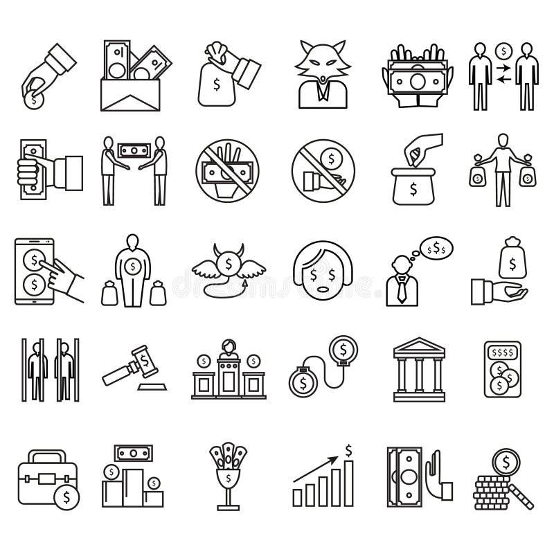 Svart tunn linje symbolsuppsättning för korruption- och oärlighettecken vektor stock illustrationer