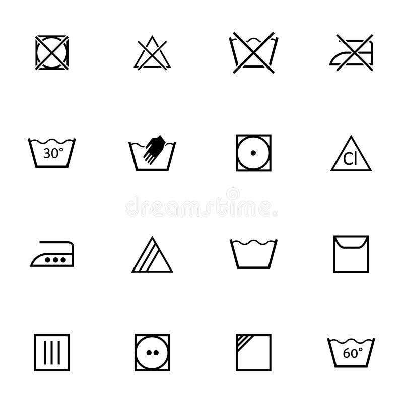 Svart tvagning för vektor    symbolsuppsättning stock illustrationer