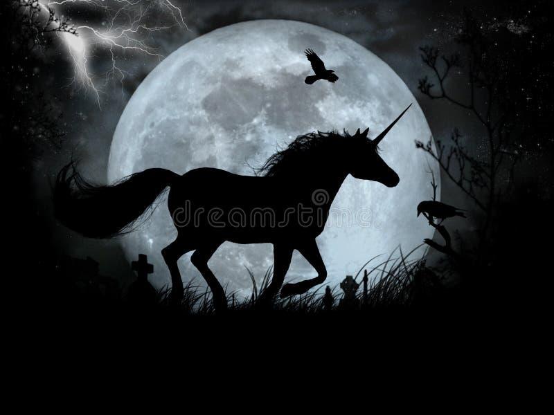 svart unicorn royaltyfri illustrationer