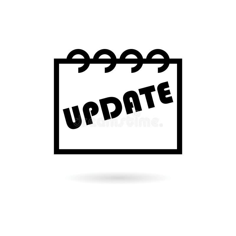 Svart uppdatering-, uppdateringprogramvarusymbol eller logo stock illustrationer
