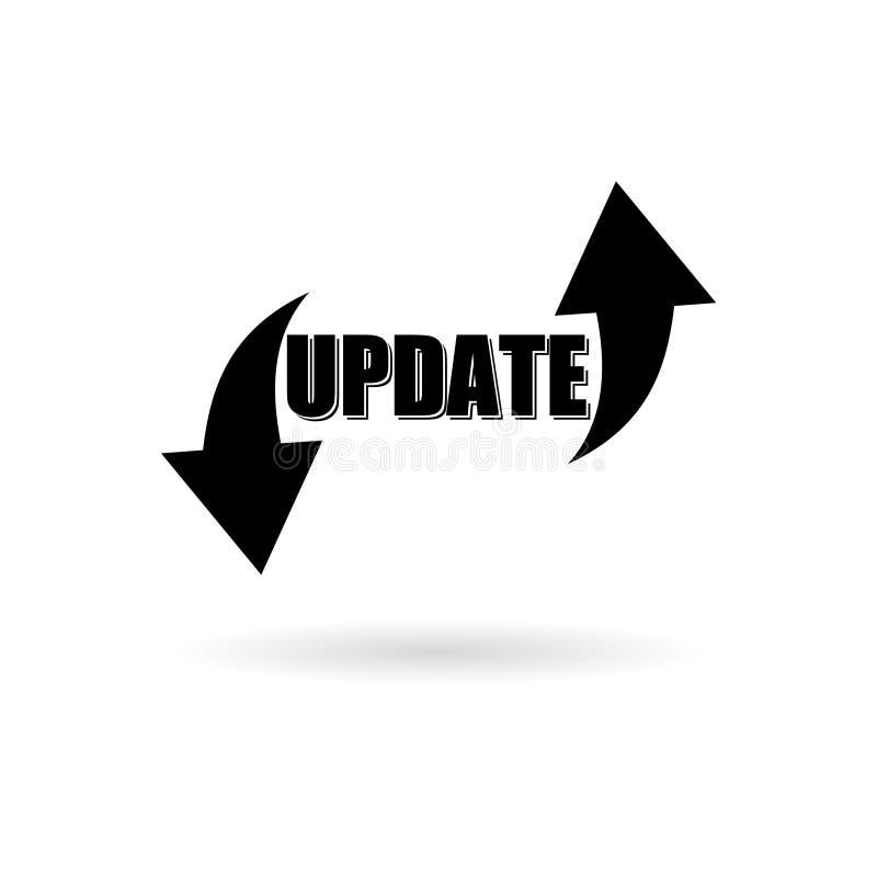 Svart uppdateringprogramvaruklistermärke eller logo, begreppsbetydelse som byter ut program med en nyare version av samma produkt royaltyfri illustrationer