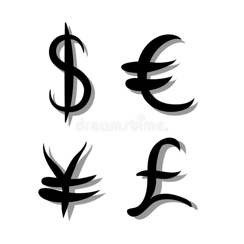 Svart uppsättning av huvudsakligt valutatecken Tecken av dollaren och yen, euro och pund på vit bakgrund med skugga också vektor  vektor illustrationer