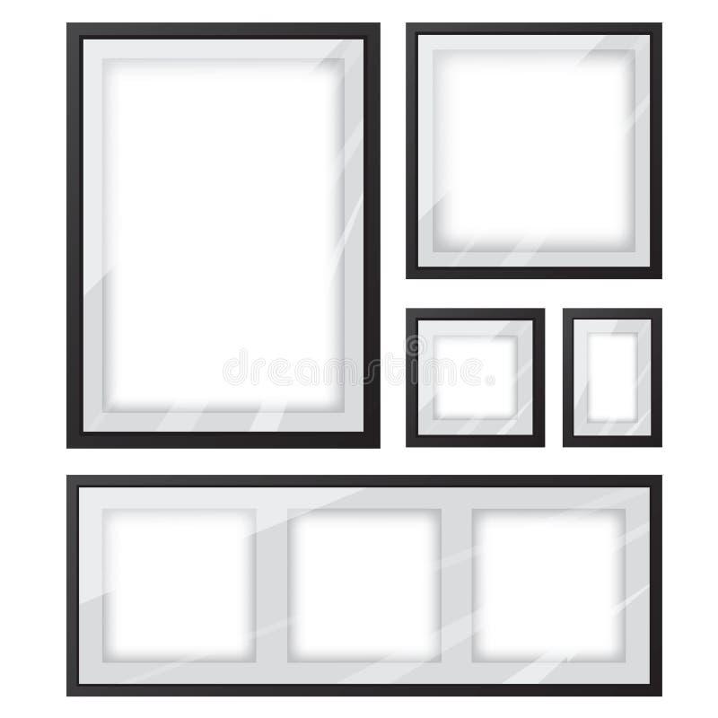Svart uppsättning för bildram stock illustrationer
