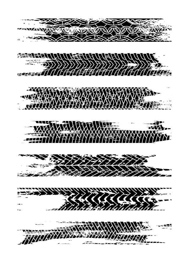Svart uppsättning för gummihjulspårkontur Grungegummihjulspår som isoleras på vit bakgrund Gummihjulsp?r med f?rgpulverfl?ckar wh royaltyfri illustrationer
