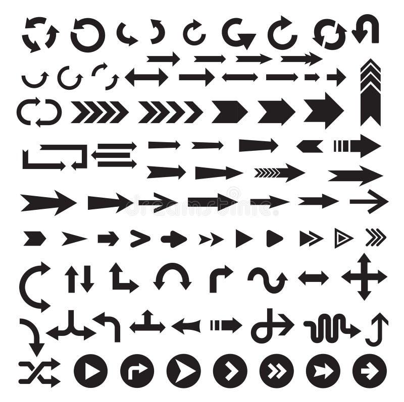 Svart uppsättning för pilteckensymbol stock illustrationer