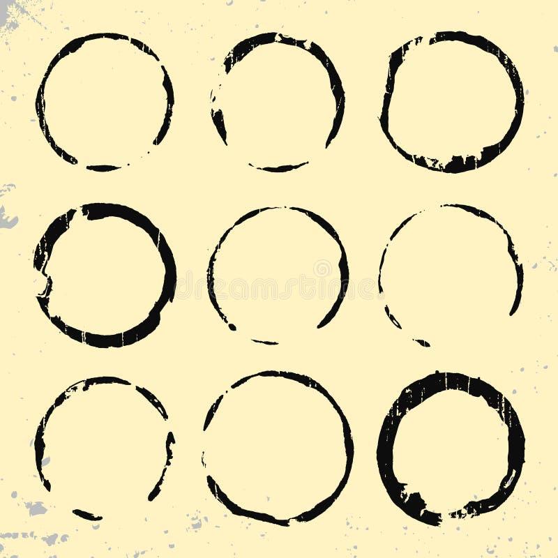 Svart uppsättning för rubber stämplar för grunge vektor illustrationer