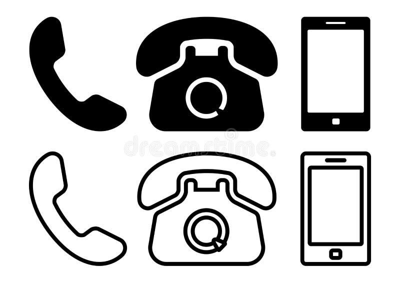Svart upps?ttning av telefonsymboler vektor stock illustrationer