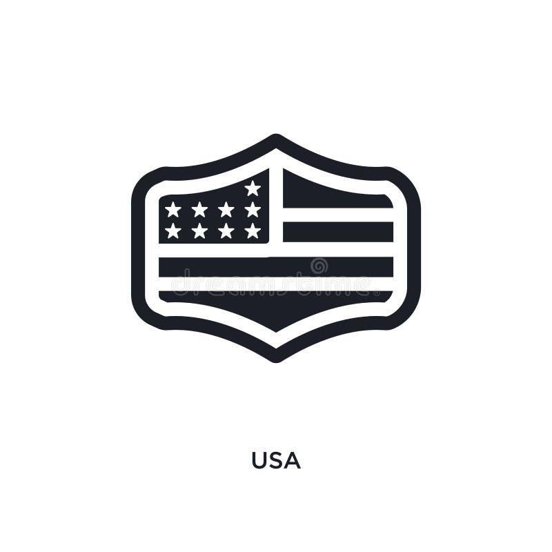 svart USA isolerad vektorsymbol enkel best?ndsdelillustration fr?n symboler f?r F?renta staterna begreppsvektor redigerbart logos royaltyfri illustrationer