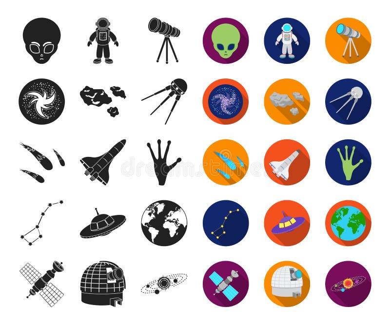 Svart utrymmeteknologi, plana symboler i den fastställda samlingen för design Rengöringsduk för materiel för rymdskepp- och utrus royaltyfri illustrationer