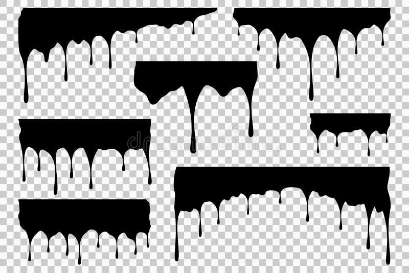 Svart vätskestekflott Ställ in av olja eller målarfärgfläck och klick Liten droppe av färgpulver på genomskinlig bakgrund vektor vektor illustrationer