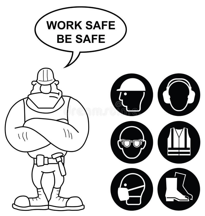 Svart vård- och säkerhetstecken royaltyfri illustrationer